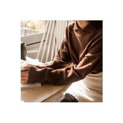 CHERRYKOKO - Collared Drop-Shoulder Wool Blend Knit Top