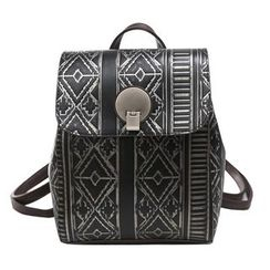 Hase Babe - Embossed Faux Leather Backpack