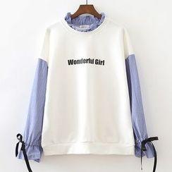 ninna nanna - Letter Frill Collar Panel Sweatshirt