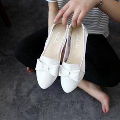 HOONA - 飾蝶結網紗拼接船跟鞋