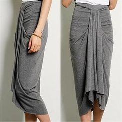 FASHION DIVA - Shirred Front Midi Skirt