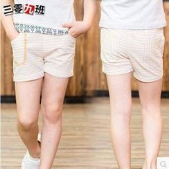 三零九班 - 兒童條紋刺繡短褲