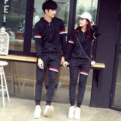 尚雅姿 - 情侣款套装: 条纹卫衣 + 运动裤