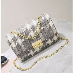 BAGSHOW - Tweed Chain Strap Crossbody Bag