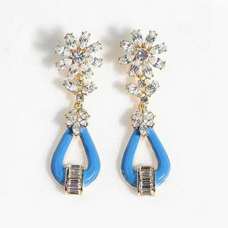 Gossip Girl - Rhinestone Flower Drop Earrings