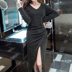ZAPPA - Glitter V-Neck Slit Bodycon Dress