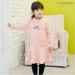 LILIPURRI - Girls Fleece Pocket Ruffle-Hem Dress
