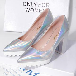 Hannah - Iridescent Pointy Platform Pumps