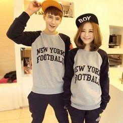 Century Girl - Couple Matching Applique Raglan Fleece-lined Sweatshirt
