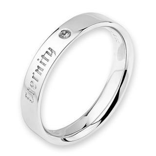 MaBelle - 18K White Gold Eternity Engraved Diamond Solitaire Women Ring Band (0.01ct)