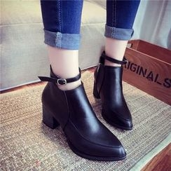 Yoflap - Ankle Strap Pointed Ankle Boots