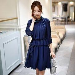 Dabuwawa - 3/4-Sleeve Ruffle Chiffon Dress