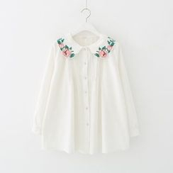 Meimei - Embroidered Pintuck Blouse