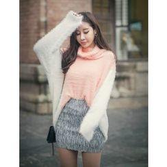 GUMZZI - Cowl-Neck Color-Block Sweater