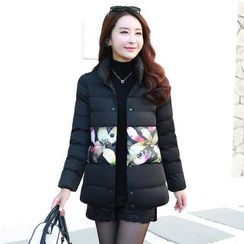 AiSun - Feather Print Panel Padded Coat