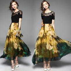 洛圖 - 仿兩件印花連衣裙