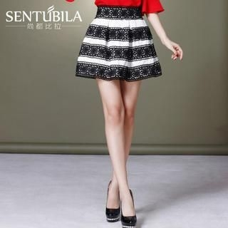 Sentubila - Lace-Trim Striped A-Line Skirt