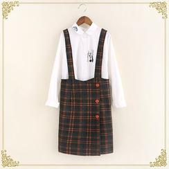 布衣天使 - 格子飾鈕扣吊帶裙