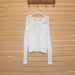 TWILOS - Wool Blend Open-Knit Top