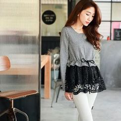 Tokyo Fashion - Long-Sleeve Houndtooth Lace Panel Blouse