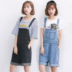 Sienne - Loose Fit Denim Dungaree Shorts
