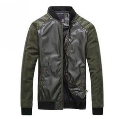 MR.ZERO - Mandarin-Collar Faux-Leather Jacket