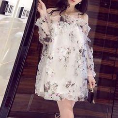 Silkfold - Long-Sleeve Off Shoulder A-line Dress