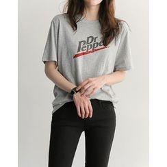 UPTOWNHOLIC - Round-Neck Lettering T-Shirt