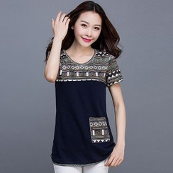 Eloqueen - Short-Sleeve Patterned-Panel T-Shirt