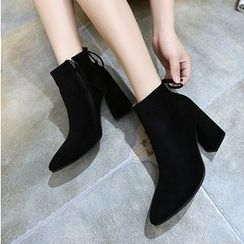 KIMI - Block Heel Pointy Ankle Boots