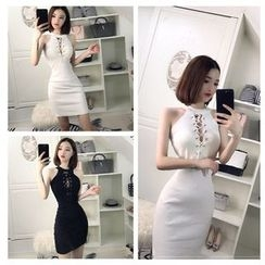 Elmiko - Lace-Up Halter Bodycon Dress
