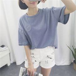 MISS YOYO - 刺繡中袖T恤