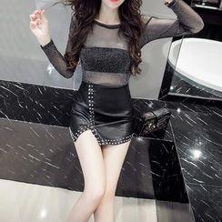 Silkfold - Set: Long-Sleeve Glitter Sheer Top + Faux Leather A-line Skirt + Bandeau