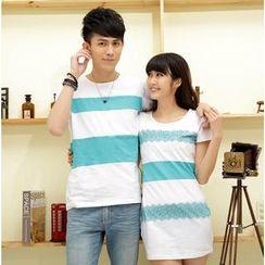 Porspor - Short-Sleeve Color-Block Couple T-Shirt