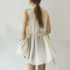 DABAGIRL - Chiffon-Back Linen Trench Vest with Sash