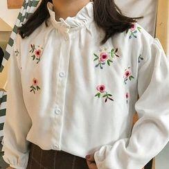 Cloud Nine - Floral Embroidered Frilled Neck Shirt