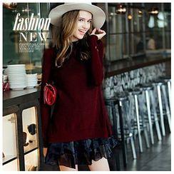 Ozipan - Set: Long-Sleeve Wool Blend Sweater + Sleeveless Dress