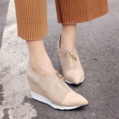 JY Shoes - Pointed Hidden Wedge Slip Ons