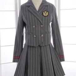 Reine - Set: Striped Double-Breasted Blazer + Striped Jumper Skirt