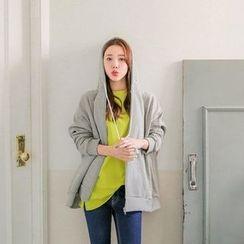 Seoul Fashion - Studded Hooded Zip-Up Jacket