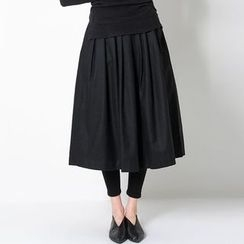 FASHION DIVA - Gathered-Waist Wool Blend Midi Skirt
