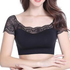 Dayuni - Short-Sleeve Cropped Padded Top