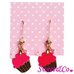 Sweet & Co. - Sweet&Co Mini Gold Fuchsia Cupcake Crystal Earrings