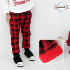 nanakids - Kids Band-Waist Plaid Brushed-Fleece Lined Pants