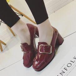 楊董 - 粗跟飾扣樂福鞋