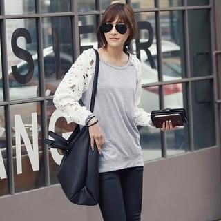 REDOPIN - Lace Sleeve Pullover