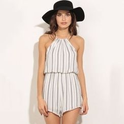 Hanni - Striped Chiffon Playsuit