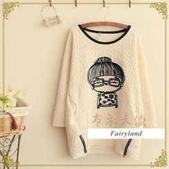 Fairyland - Embroidered Textured Long-Sleeve Oversized Top