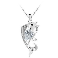 BELEC - 925 Sterling Silver Fish Pendant with White Swarovski Element Cubic Zircon and 45 Cm Necklace