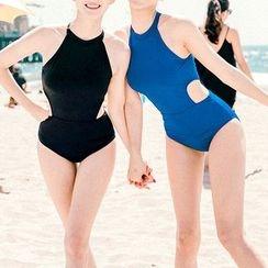 LANYI - Plain Cutout Swimsuit